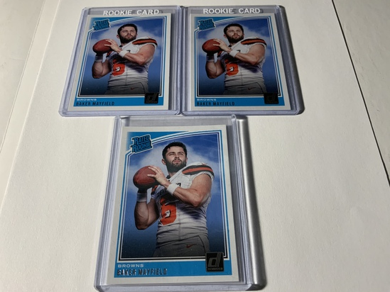 LOT OF 3 2018 PANINI DONRUSS BAKER MAYFIELD #303 ROOKIE CARDS CLEVELAND BROWNS