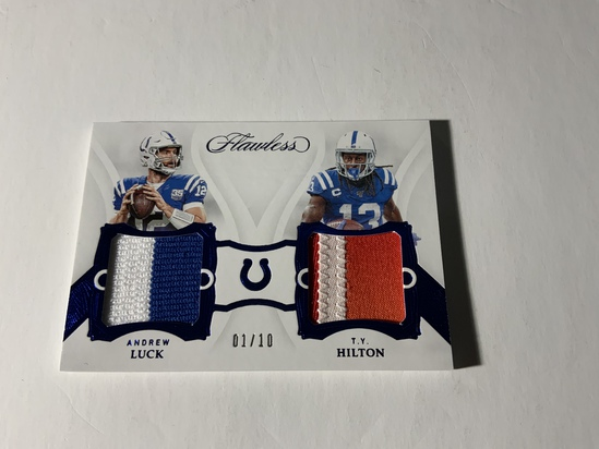 2019 PANINI FLAWLESS ANDREW LUCK & T.Y. HILTON NUMBERED DUAL JERSEY CARD 1/10 INDIANAPOLIS COLTS