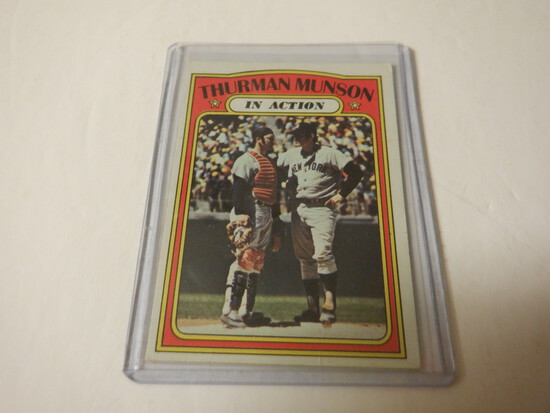 1972 TOPPS THURMAN MUNSON IN ACTION #442 NEW YORK YANKEES