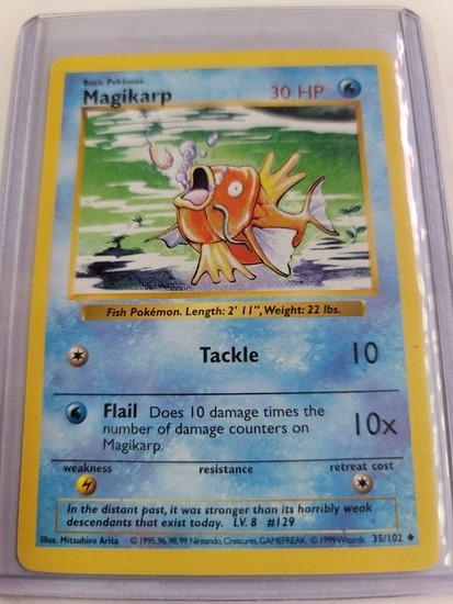 Original POKEMON Base Set SHADOWLESS Magikarp #35/102 UNCommon Card