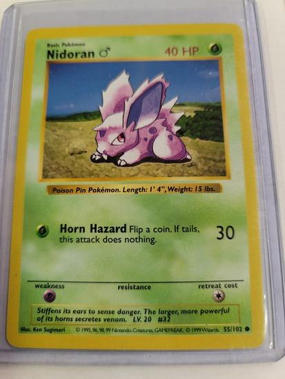 Original POKEMON Base Set SHADOWLESS Nidoran #55/102 Common Card