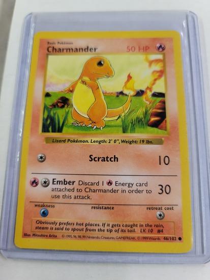 Original POKEMON Base Set SHADOWLESS Charmander #46/102 Common Card