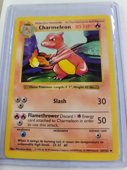 Original POKEMON Base Set SHADOWLESS Charmeleon #24/102 UNCommon Card