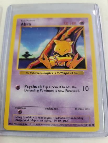 Original POKEMON Base Set SHADOWLESS Abra  #43/102 Common Card