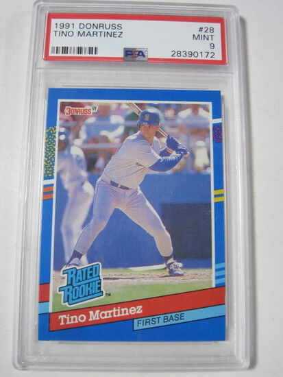 Tino Martinez Seattle Mariners 1991 Donruss Rated Rookie #28 PSA Mint 9