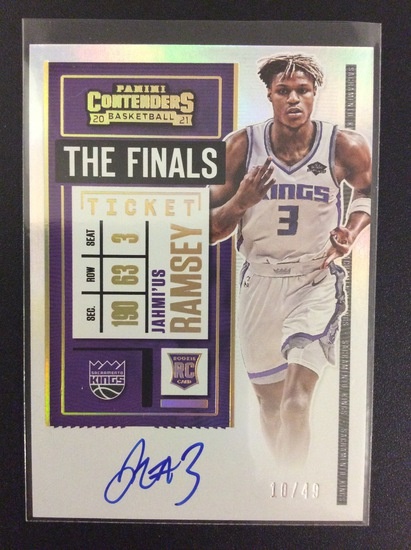 """2020-21 Contenders basketball Jahmi'us Ramsey """"The Finals"""" one card rookie autograph #10/49 RC"""
