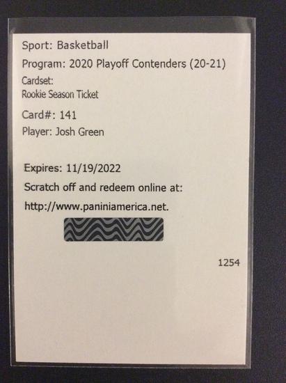 "2020-21 Contenders basketball Josh Green ""Rookie Season Ticket"" autograph redemption RC"