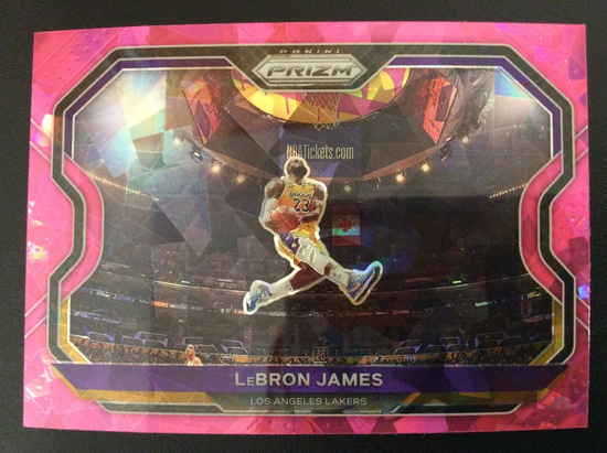 "2020-21 Prizm Basketball LeBron James ""Kobe Tribute"" pink cracked ice SSP"