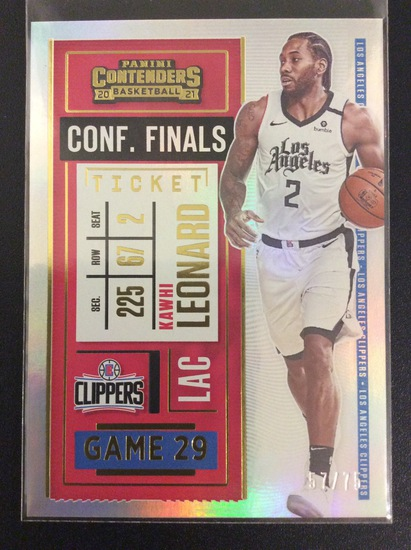 "2020-21 Contenders basketball Kawhi Leonard ""Conference Finals"" Rainbow Foil #57/75"