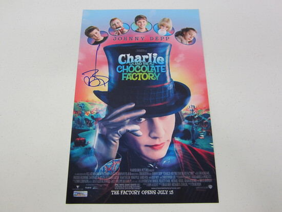 JOHNNY DEPP AUTOGRAPHED CHARLIE AND THE CHOCOLATE FACTORY MOVIE POSTER W/COA