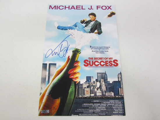 MICHEAL J FOX AUTOGRAPHED THE SECRET TO MY SUCCESS MOVIE POSTER W/COA