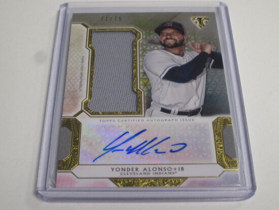 2018 Topps Triple Threads Yonder ALonso game worn jersey patch auto /75