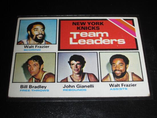 NEW YORK KNICKS TEAM LEADERS 1975-76 Topps Basketball #128 Frazier & Bradley
