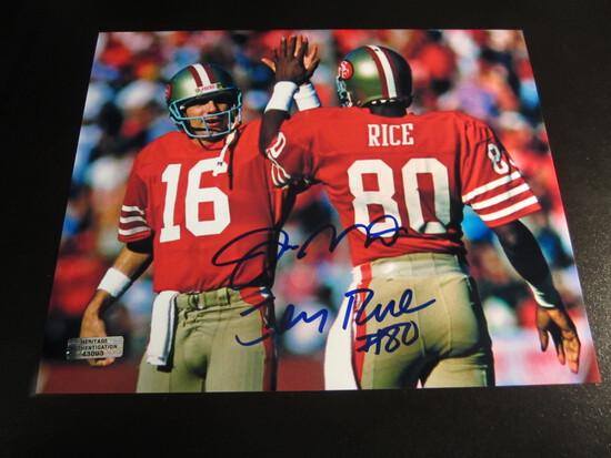 Joe Montana Jerry Rice signed 8x10 photo certified coa