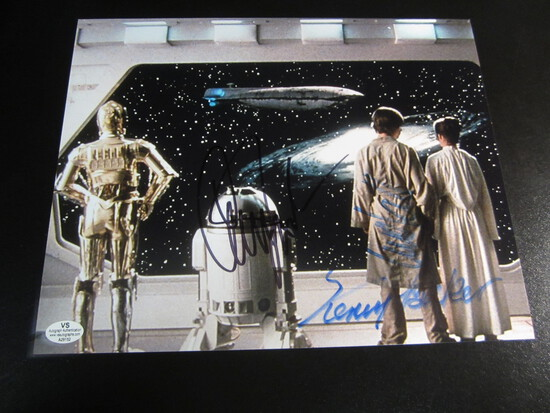 Carrie Fischer MArk Hamill KEnny Baker signed 8x10 photo certified coa