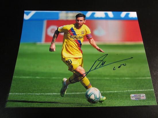 Leo Messi signed 8x10 photo certified coa