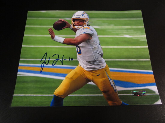 Justin Herbert Chargers OROY 8x10 Autographed   Photo w/ COA