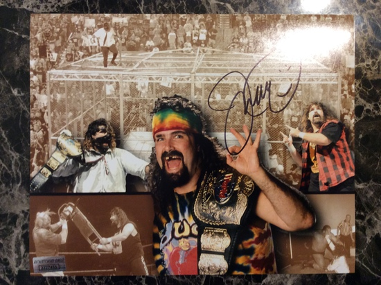 """WWF Superstar Mick Foley """"Mankind"""" Autographed 8+10 Photo with Certified COA"""