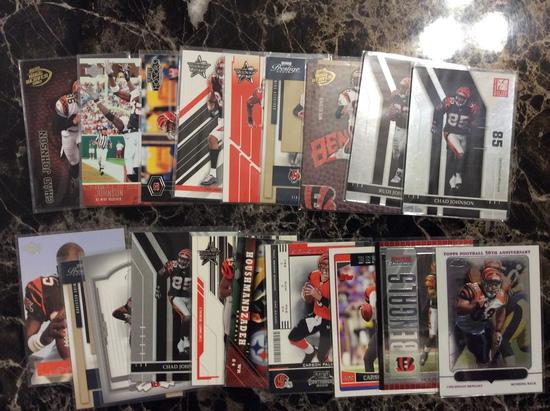 Cincinnati Bengals Team Lot - 19 Cards - Chad Johnson, Rudi Johnson & Carson Palmer RC, SP