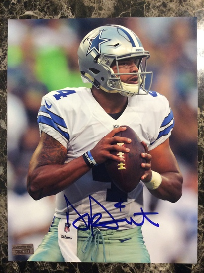 "Dak Prescott ""Dallas Cowboys"" Autographed 8+10 Photo with Certified COA"