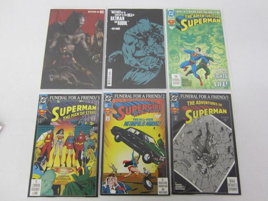 DC COMIC BOOK LOT X 6 INClUDES; SUPERGIRL/BATMAN/ AND SUPERMAN! SEE DESCRIPTION