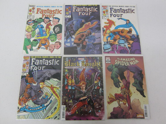 DC COMIC LOT 4 BEING FANTASTIC 4'S / A SPIDERMAN AND BLACK KNIGHT COMIC LOT TOO - SEE DESCRIPTION