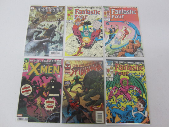 COMIC BOOK LOT; 3 FANTASTIC FOUR'S/ 1 SPIDERMAN/ 1 X MEN/ 1 TASK MASTER - SEE DESCRIPTION MARVELS`