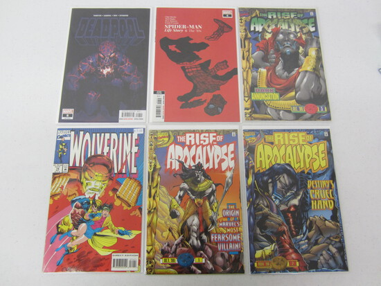 MARVEL 6 BOOK LOT INCLUDES; SPIDERMAN/ DEADPOOL/THE RISE OF THE APOCALYPSE/ WOLVERINE/SEE DESC.