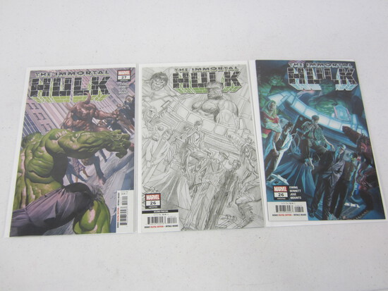 HULK MARVEL COMICS 26'S X 3 IMMORTAL'S BEING; #743, #743 SECOND PRINTING VERSION, AND #743