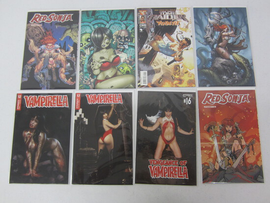 COMIC BOOK LOT X 8 INCLUDING; TOM RAIDER/ RED SONJA/ VAMPIRELLA/ - REVIEW PHOTOS DESCRIPTION!