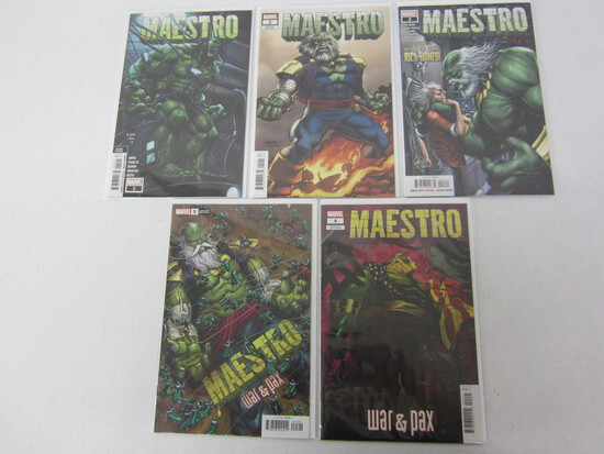X 5 MARVEL COMIC BOOK LOT; #1,2,3,4,5; MAESTRO'S WITH VARIANT EDITIONS!