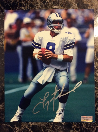 "Troy Aikman ""Dallas Cowboys HOFer"" Autographed 8+10 Photo with Certified COA"
