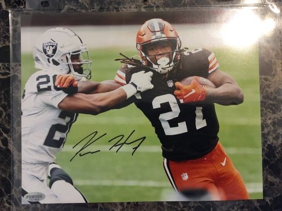 """Kareem Hunt """"Cleveland Browns"""" Autographed 8+10 Photo with Certified COA"""