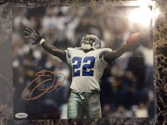 """Emmitt Smith """"Dallas Cowboys HOFer"""" Autographed 8+10 Photo with Certified COA"""