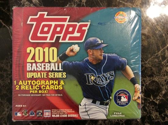"2010 Topps Baseball Update Series Jumbo Hobby Box Sealed ""1 Autograph & 2 Relic Cards Per Box"""