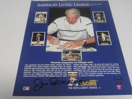 Joe Dimaggio signed photo certified coa