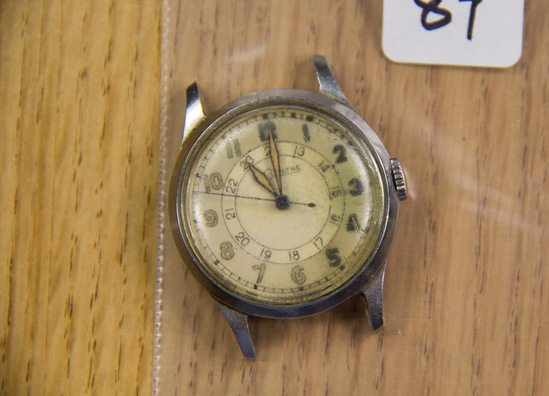LeCoultre military watch- WWII. 24 hour inner chapter. SCARCE. Needs cleaning- amazing dial!