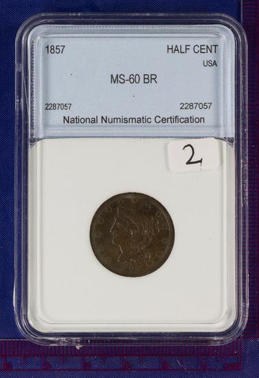 1857 Coronet Half Cent