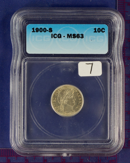 1900-S Barber Dime MS 63 ICG