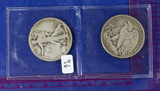 2 COINS: 1929-D and 1929-S Walking Liberty Half Dollars