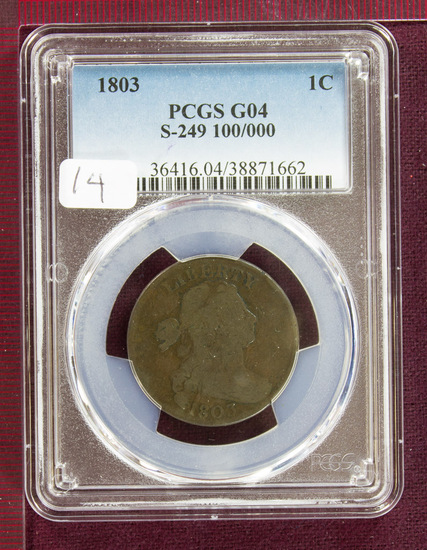 "1803 Draped Bust Large Cent S-249 ""100/000"" PCGS G04"