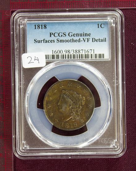1818 Coronet Large Cent PCGS VF Details