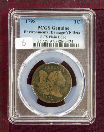 1795 Flowing Hair Large Cent S-78 Plain Edge PCGS VF Details