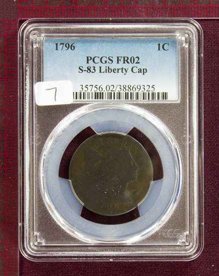 1796 Flowing Hair Large Cent S-83 PCGS FR02