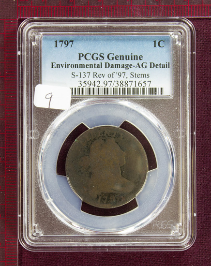 1797 Draped Bust Large Cent S-137 Rev. of '97, Stems PCGS AG Details