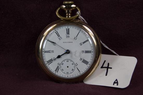 Am. Waltham 18 sz 17jw Open Face Pendant Set 24 hr. dial