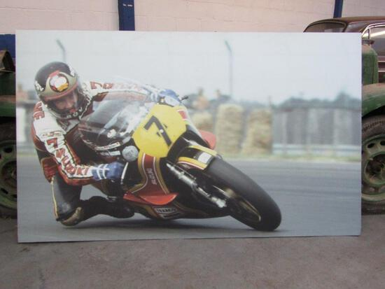 A Large Hard Mounted Photograph Of Barry Sheene