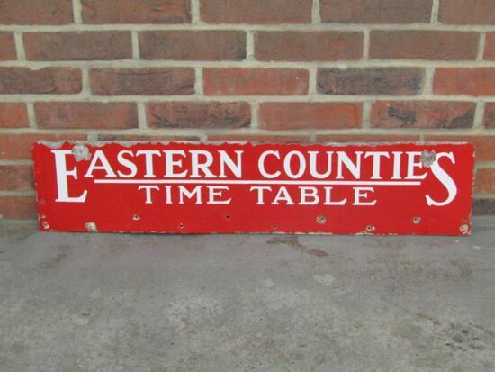 Eastern Counties Time Table Vintage Enamel Sign