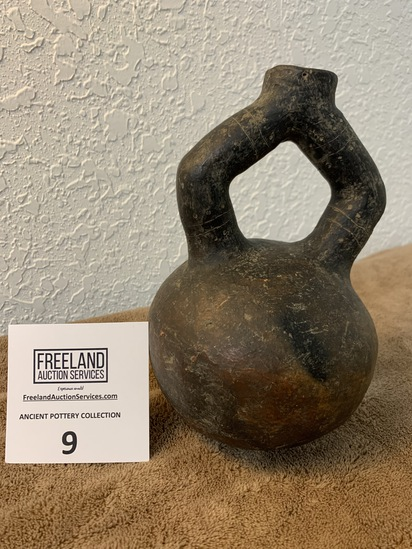Tall Crude Stirrup Vessel Pottery With Round Base