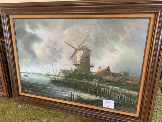 Large Signed Oil Painting Windmill Harbor Scene Baille